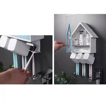 iDECO Bathroom Toothbrush Holder Gargle Cup Storage Rack Organizer Punch Free Wall Mounted Multifunctional Waterproof