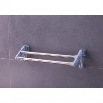 iDECO Double Bar Towel Rack With Hooks Self-Adhesive Hanging Drying Storage Holder Kitchen Multipurpose Stainless Steel