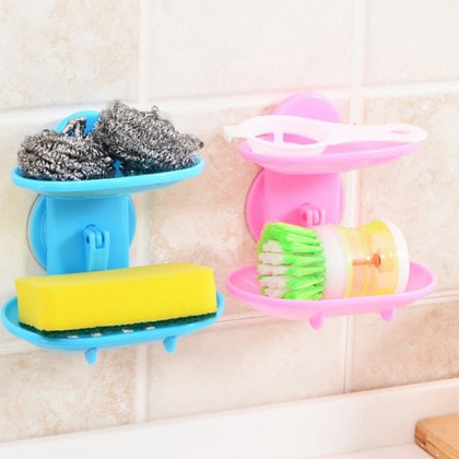 iDECO Double Layers Bathroom Soap Holder Rack Strong Suction Cup Type Soap Basket