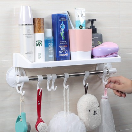 iDECO Wall Mounted Suction Bathroom And Kitchen Multipurpose Rack Shelves With Hook