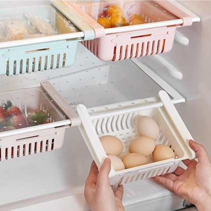 iDECO Adjustable & Stretchable Fridge Organizer Fridge Basket Spacer Layer Storage Rack Drawer Basket Refrigerator