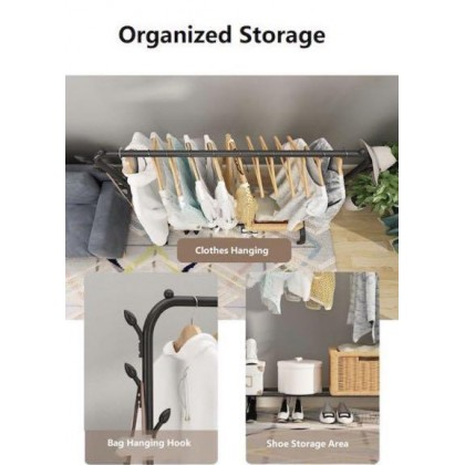 iDECO Double Pole Strong Steel Structure Laundry Rack Cloth Clothes Rack Hanging Organizer / Hanger Baju