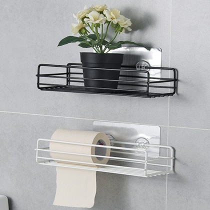 iDECO Bathroom shelf Corner Storage Rack Organizer Shower Wall Shelf Adhesive No Drilling Iron Kitchen Bathroom Shelve