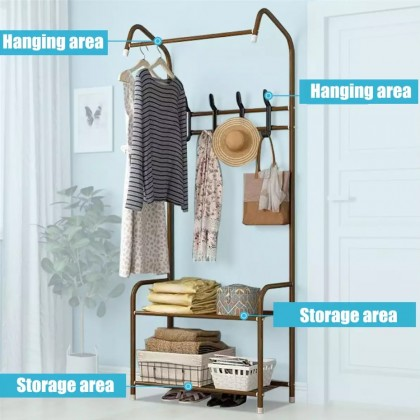 iDECO Multifunctional Simple Coat Rack Bedroom Cloth Organizer Hanger Rak Pakaian Floor Standing Shelf Clothes Hanger